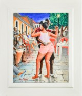 Lars Helweg, akryl på plade, 'Dansende par'