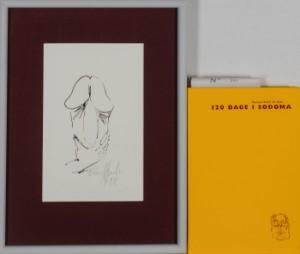 Frans Kannik, litografisk trykt særudgivelse samt signeret forlæg til indvendig vignet, 120 Dage i Sodoma af Marquis D.A.F. de Sade. cd. (2) - Dk, Herlev, Dynamovej - Litografisk særudgave af Marquis D.A.F. de Sades '120 Dage i Sodoma' samt originalt forlæg til vignet på s. 55, illustreret af Frans Kannik (1949-2011). Udgivet i 1998, bog ombundet i gult Viking Gummi, indvendigt sign. Frans Ka - Dk, Herlev, Dynamovej