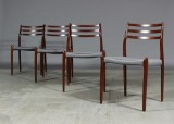 N. O. Møller, dining chairs, Brazilian rosewood (4)