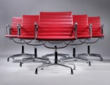 Charles Eames. A set of six lounge chairs, Model EA-108, Full Leather (6)