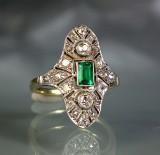 Smaragd-Diamant-Ring Antik