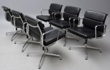 Charles Eames. A set of six armchairs, model EA 208 'Full Leather' (6)