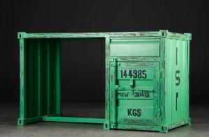 ware 3573205 schreibtisch aus gr nbemaltem metall rustikaler container look industrielles design. Black Bedroom Furniture Sets. Home Design Ideas