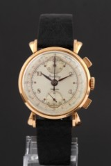 Breitling 'Chronograph'. Vintage herreur i 18 kt. guld med usædvanlige horn, 1950'erne