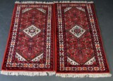 A pair of Persian rugs / mats, wool on cotton (2)