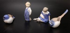Figuriner, 4 st, porslin. Royal Copenhagen 1 samt Bing  Gröndahl 3. 4.