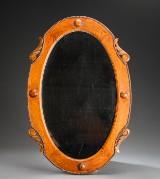 Ovalt spejl, lakeret egetræ