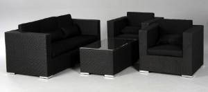 Slutpris For Tradgardsmobler Lounge Soffgrupp Med Svarta Dynor