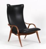 Fritz Henningsen. ´Signature Chair` model FH429, sort læder og valnød.