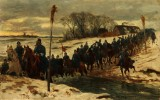 Otto Bache. Historic scene with Danish dragoons mounted on horseback on a winter's day, 1884