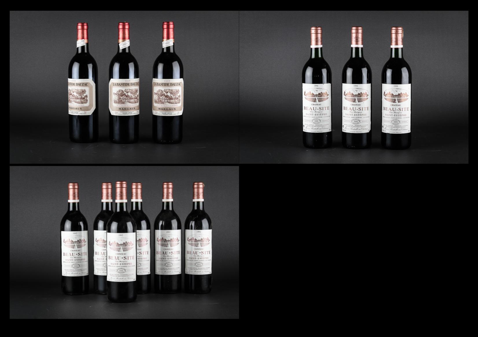 12 flasker moden Bordeaux - 12 flasker moden Bordeaux. Venstre Bred. 3 flasker La Bastide Dauzac 19936 flasker Chateau Beau-Site 19923 flasker Chateau Beau-Site 1991.Opbevaret korrekt siden frigivelse