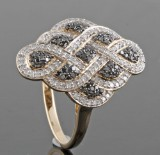 Black diamond ring in gold approx. 0.60ct