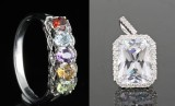 Multicolour diamond and gem ring 0.02ct and Pendant with large cubic zirconia