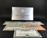 Kalender von 1985 mit historischen Wertpapieren