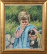 Ubekendt kunstner. Pige med dukke. Olie på lærred