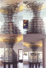 Viktor Hall. Skulptur af glas og jern, 'Transit', ultimo 1980erne