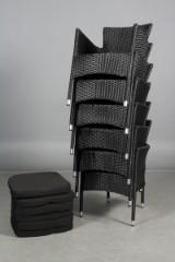 Havemøbler. Seks stabelbare havestole, sort polyrattan, aluminium stel. (6)