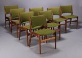 Dansk møbelproducent. Spisestole, grønt uld (8)