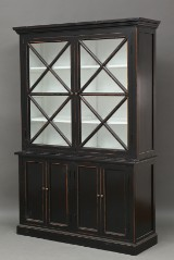 Two-section display cabinet, black paint finish