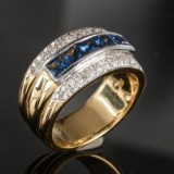 Gold and white gold ring featuring sapphires and brilliant-cut diamonds - unique piece