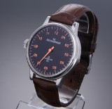 Meistersinger '1Z NL'. Oversize men's watch, steel, with black dial, c. 2005