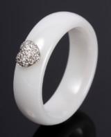 Ceramic Collection: Hjertering m/ diamanter, 14 kt. guld, High Tech Ceramic.