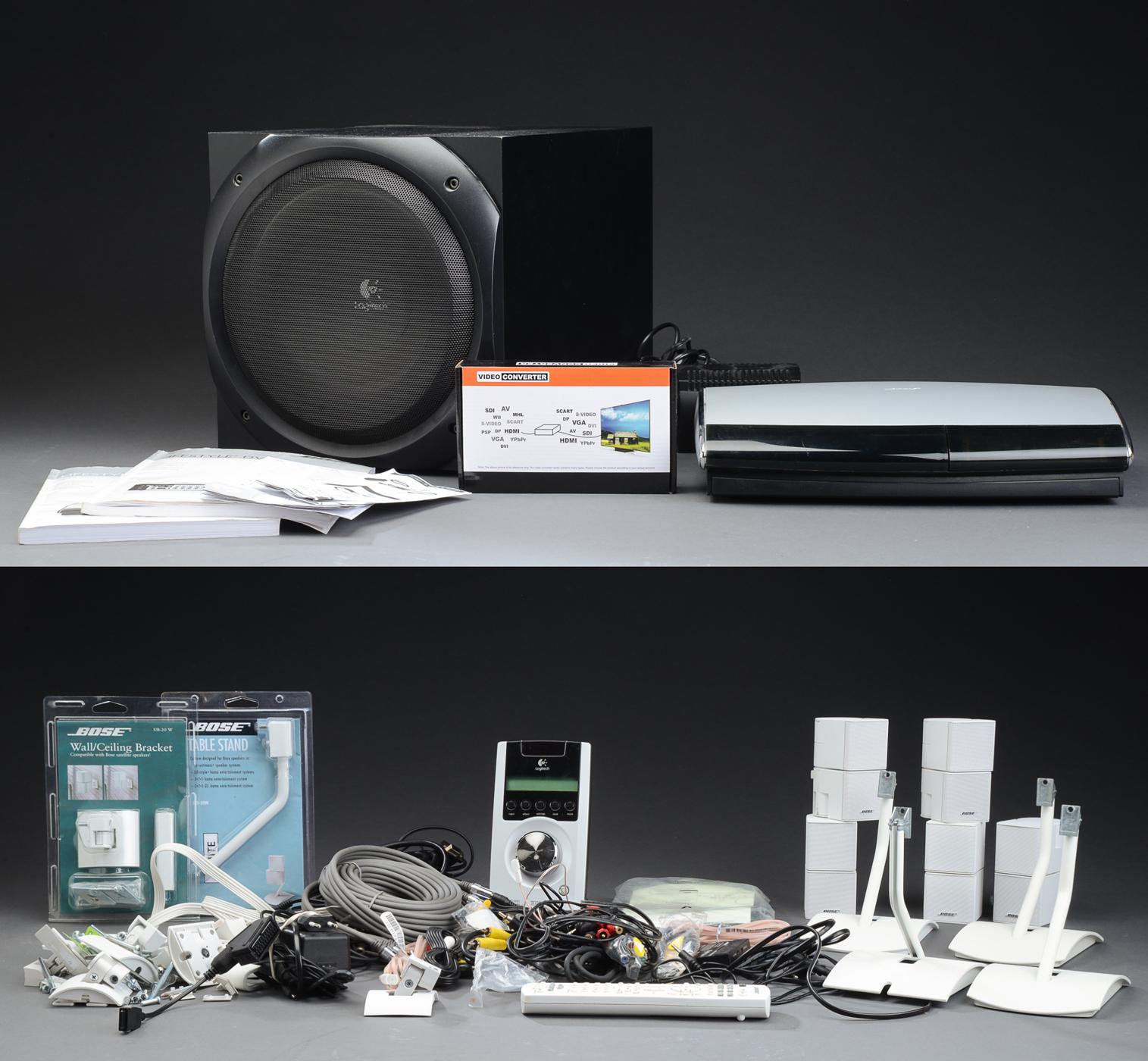 Bose AV48 multimediasystem med surround - Bose AV48 multimediasystem med surround. Fire Bose Jewel Double Cube højtalere, med diverse væg og bord beslag. Logitech Z-5500 digital subwoofer. Diverse ledninger og manualer medfølger. Lauritz.cvom indestår ikke for funktionaliteten