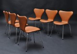 Arne Jacobsen, six chairs, model 3107, Series 7, new upholstery with cognac Calvados leather (6)