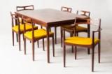 Johannes Andersen, sæt med fire spisestuestole, model 94, to armstole, model 94, og et spisebord, palisander, fremstillet hos Chr. Linnebergs Møbelfabrik (7)