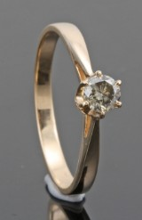 14kt diamond solitaire ring approx. 0.26ct.With HRD report