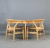 Hans J. Wegner, chairs model Y Chair, model no. 24 Wishbone for Carl Hansen + dining table (5)