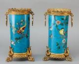 Et par franske cloissonné vaser i japansk stil, ca. 1870 (2)