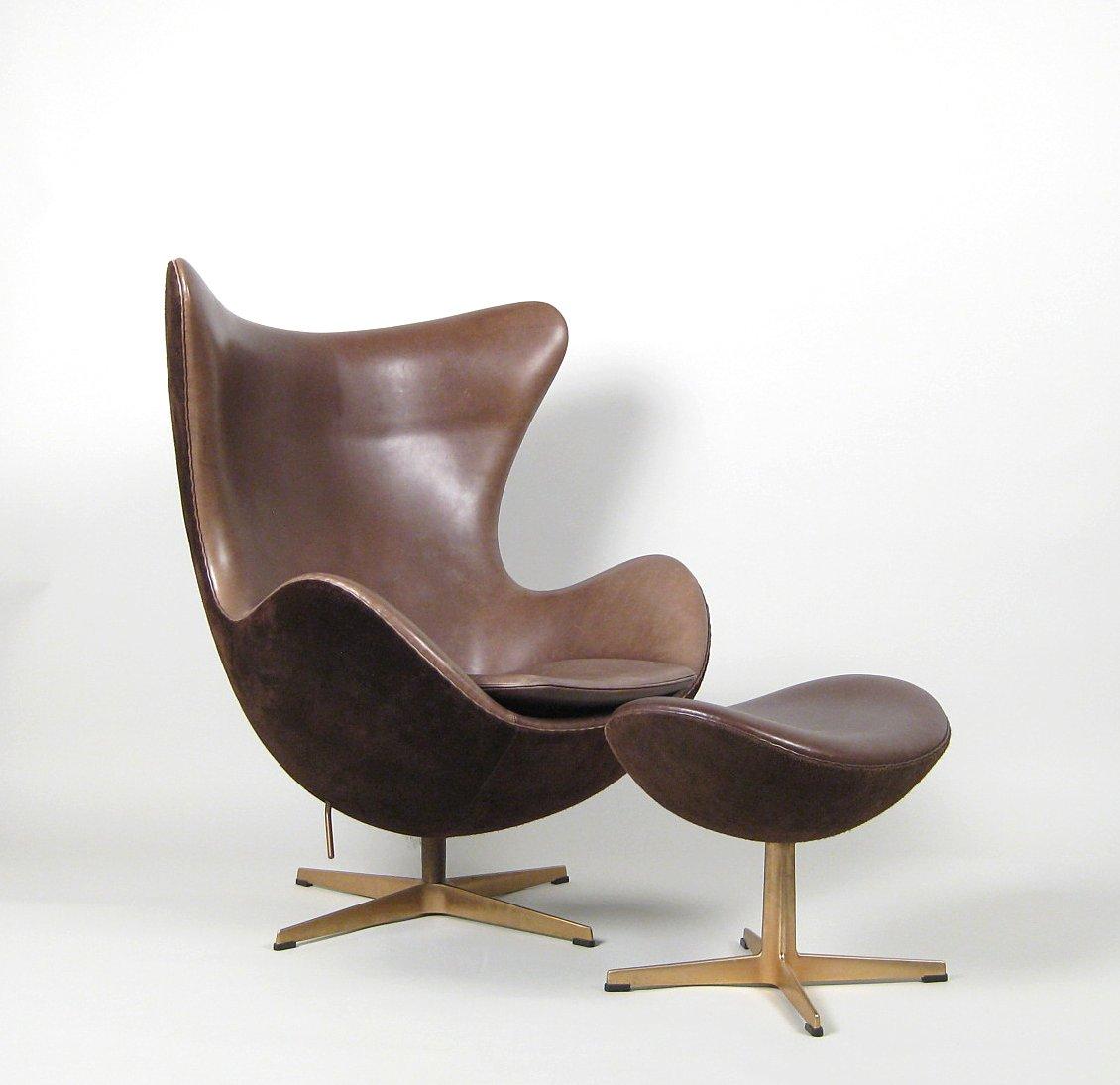 Arne Jacobsen, A Lounge Chair, Model Egg Chair 3316, Anniversary Model U0027Det  Gyldne ægu0027 + Ottomane 3127 By Fritz Hansen (2) This Lot Has Been Put Up For  ...