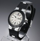 Bvlgari 'Diagono'. Men's watch, aluminium and rubber with pale dial