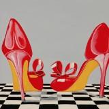 Jens Ulrich Petersen. 'Røde sko'. Olie på lærred