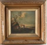 Oidentifierad konstnär, oljemålning, landskapsmotiv med människor, 17/1800-tal