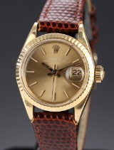 Vintage Rolex Datejust ladies' watch, 18 kt. gold, champagne-coloured dial, c. 1970