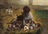 Simon Simonsen. A German short-haired pointer with puppies, oil on panel