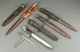 Seks diverse bajonetter samt papirskniv (7)