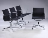 Charles Eames. Set of four lounge chairs, Model EA-108, in black hopsack (4)