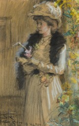 P.S. Krøyer, charcoal and pastel on paper, lady standing in promenade dress