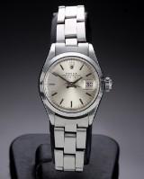 Rolex 'Date'. Vintage dameur i stål med sølvfarvet skive, ca. 1971