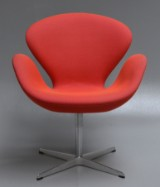 Arne Jacobsen. The Swan, lounge chair from 2011, model 3320, Red Label. High version + 8 cm