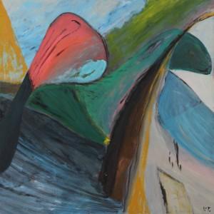 Valborg Thinghus. Komposition - Dk, Herning, Engdahlsvej - Valborg Thinghus (f. 1938). Komposition, akryl på lærred, sign. V.T. 100 x 100 cm UR. - Dk, Herning, Engdahlsvej