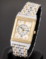 Jaeger-LeCoultre 'Reverso'. Mid-size ladies watch, 18 kt. gold and steel