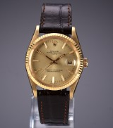 Rolex 'Date'. Vintage men's watch, 18 kt. gold with champagne-coloured dial, c. 1982