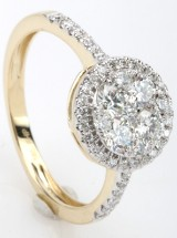 Rosette ring with diamonds from FHP DeLuxe, 14 kt. gold, approx. 0.75 ct.