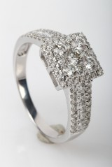 Diamond ring from FHP, 14 kt rhodium-plated gold, approx. 1.02 ct.