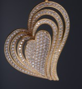 Reeslev. A diamond heart pendant with necklace