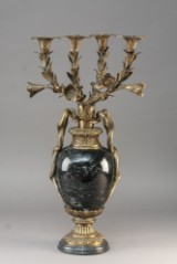 Stor kandelaber af messing og granit Napoleon d.III stil